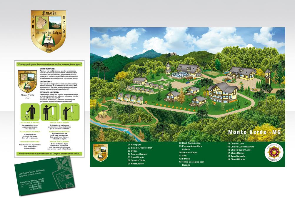 Folder e mapa ilustrativo Pousada SPA Mirante da Colyna – Monte Verde-MG